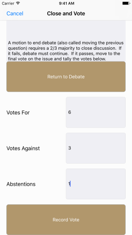 Here the user can record the final vote on an item.